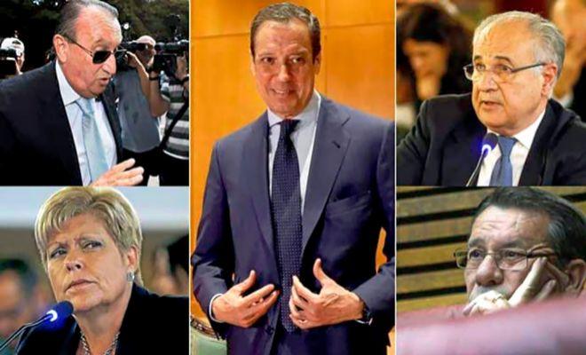 Montaje fotográfico con Zaplana y el resto de altos dirigentes del PPque han pasado por la cárcel.