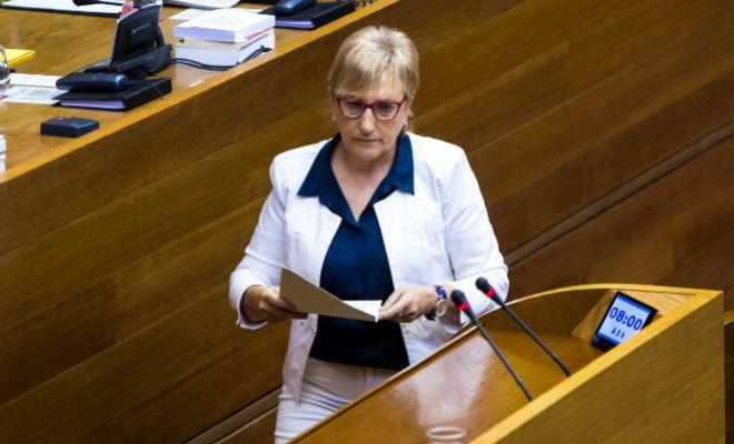 La portavoz adjunta del grupo socialista en las Cortes, Ana Barceló, durante una intervención reciente.