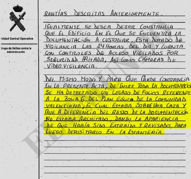 Acta levantada por los agentes de la UCO tras la revisión del archivo espiado