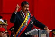 El presidente venezolano, Nicolás Maduro, dirige un acto militar en Caracas.