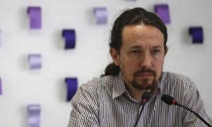 Pablo Iglesias, el viernes, en rueda de prensa en la sede de Podemos.