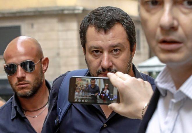 El líder de La Liga, Matteo Salvini, llega a la Cámara Baja, en Roma.