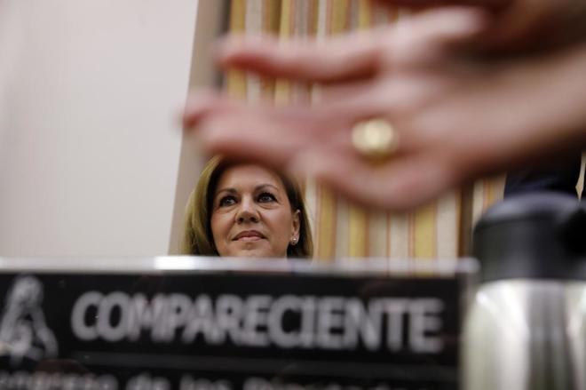 María Dolores de Cospedal, durante su comparecencia en la comisión de investigación del Congreso.