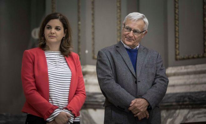 El alcalde de Valencia, Joan Ribó, junto a la primer teniente de alcalde, Sandra Gómez.