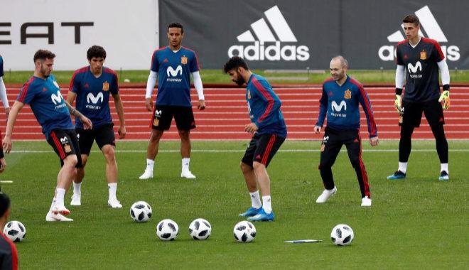 La Selección de España durante un entrenamiento previo al Mundial de...