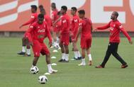 Jefferson Farfán, durante un entrenamiento de la selección peruana.