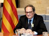 El presidente de la Generalitat, Quim Torra, este lunes en la...