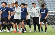 Varios internacionales japoneses, durante un entrenamiento.