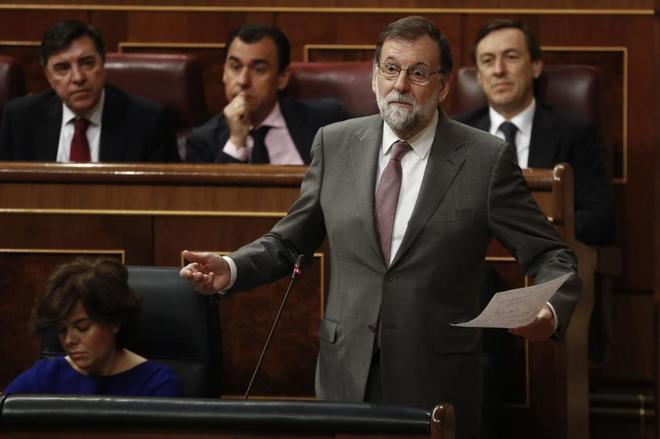 Mariano Rajoy, durante la sesión de control al Gobierno en el...