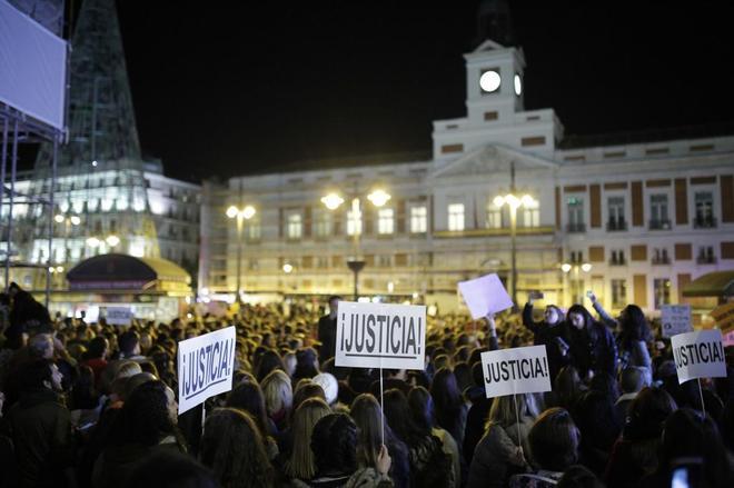 Manifestación en Madrid en contra de la violencia machista el pasado...