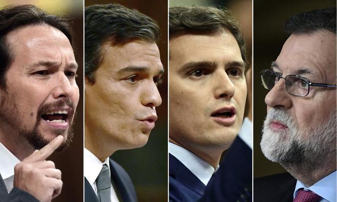 De izquierda a derecha, Pablo Iglesias, Pedro Sánchez, Albert Rivera...