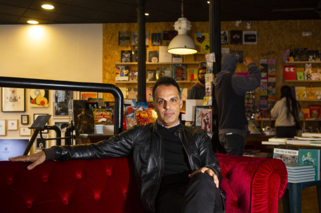 El escritor Servando Rocha en la librería Swinton and Grant de Madrid.