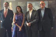José Manuel Guerrero, Espido Freire, Arturo Pérez-Reverte y Julián Martínez-Simancas, en la fiesta de los dos años de Zenda