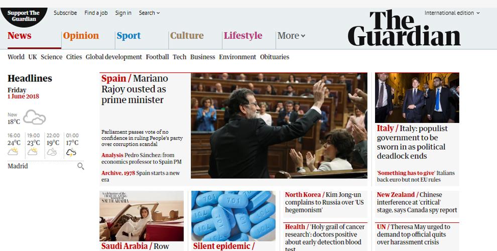 El británico The Guardian abre su web con la imagen de Rajoy y el...