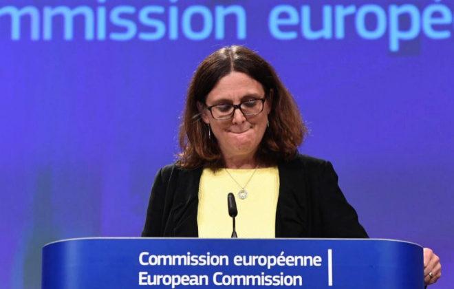 Cecilia Malmstrom, comisaria europea de Comercio, en la rueda de prensa de este viernes.