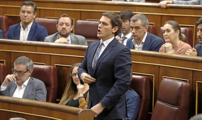 Albert Rivera, durante la votación a la moción de censura.