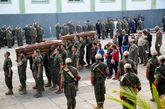 Funeral celebrado hoy en el acuartelamiento de la capital, en...
