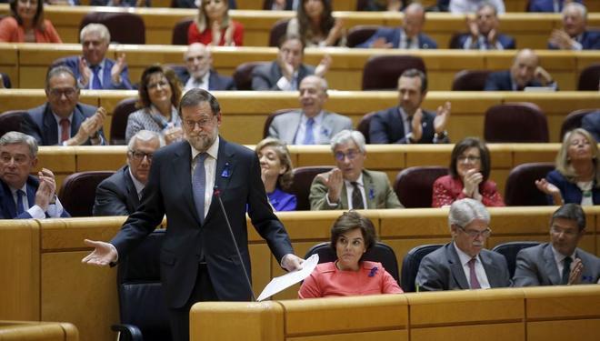 Mariano Rajoy, durante una sesión de control al Gobierno en el Senado el 8 de mayo.