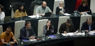 Concejales del equipo de Gobierno municipal de Ahora Madrid, durante un pleno reciente.