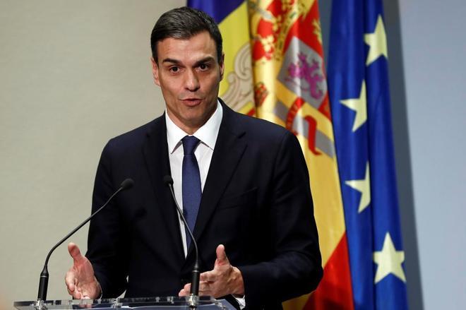 Pedro Sánchez, durante su intervención, ayer, en un acto para...