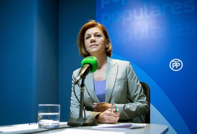 María Dolores de Cospedal, durante una entrevista, ayer, en Onda...
