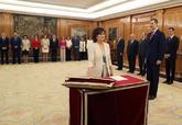 Carmen Calvo promete su cargo en presencia del Rey Felipe VI en La...
