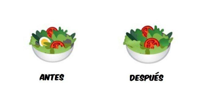 El nuevo emoji de la ensalada de Google ya no tiene huevo duro.