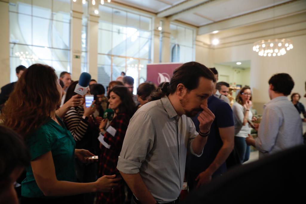 El secretario general de Podemos, Pablo Iglesias, este viernes en el Círculo de Bellas Artes.