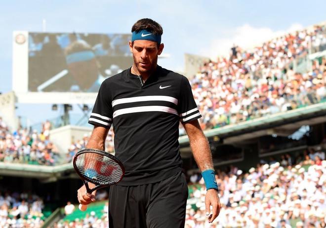 Del Potro, durante el partido de semifinales frente a Nadal en Roland Garros.