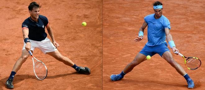 Thiem y Nadal, durante Roland Garros 2018.