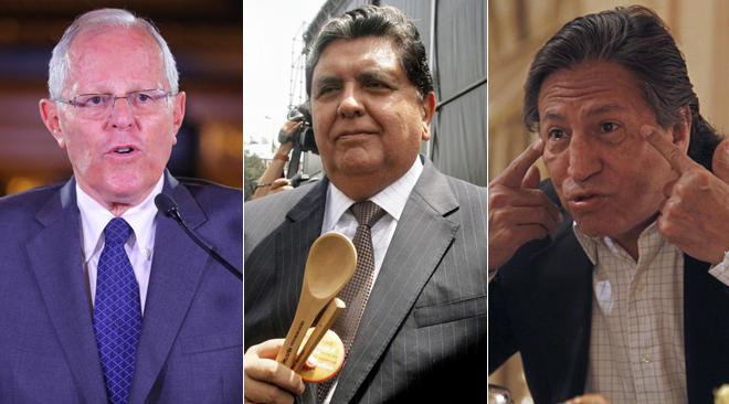 Los ex presidentes de Perú Pedro Pablo Kuczynski, Alan García y Alejandro Toledo.