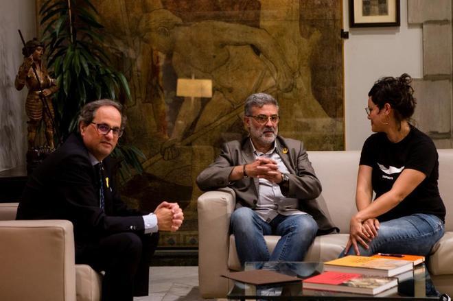 Torra se reúne con el portavoz de la CUP, Carles Riera, y con la diputada antisistema Natàlia Sànchez.