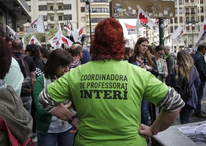 Manifestación de profesores interinos en Valencia el pasado mes de...