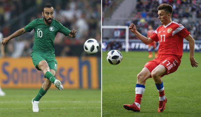 El jugador saudí Mohammad al-Sahlawi y el ruso Alexander Golovin...