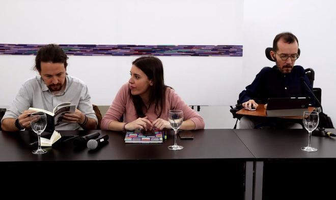 Pablo Iglesias, Irene Montero y Pablo Echenique, la pasada semana en Madrid.