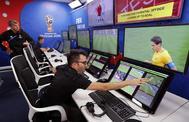 Sala de operaciones del VAR durante el Mundial de Rusia.