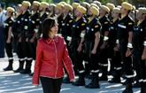 La ministra de Defensa, Margarita Robles, pasa revista a la UME en la...