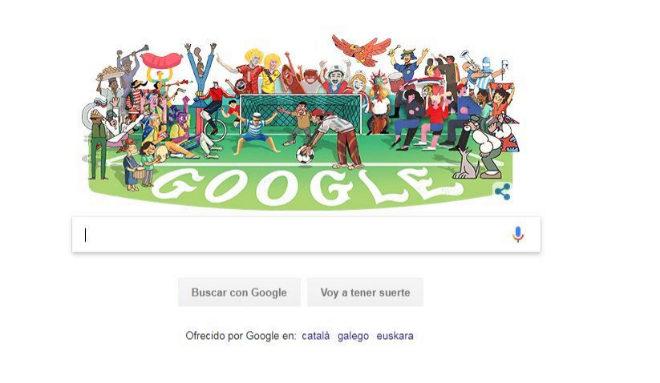 Imagen del doodle de Google sobre el Mundial de fútbol de Rusia 2018