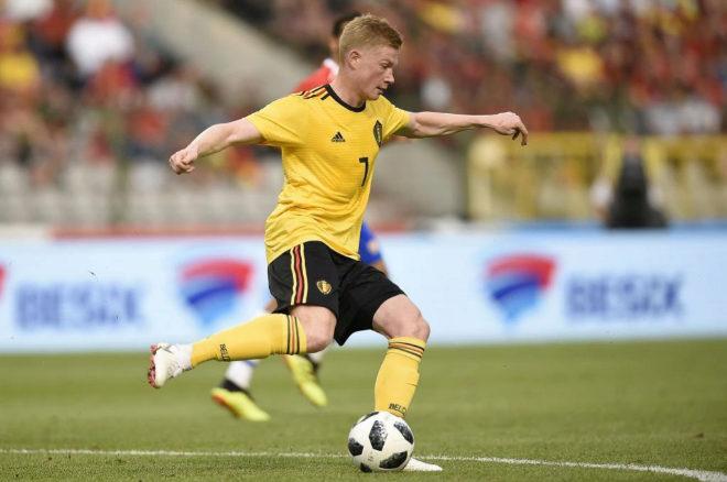 Kevin De Bruyne durante un partido con la selección de Bélgica