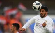 Luis Suárez, en el calentamiento previo al Egipto - Uruguay, en el Ekaterinburg Arena.