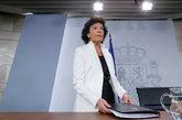 La ministra portavoz, Isabel Celaá, este viernes en la rueda de...