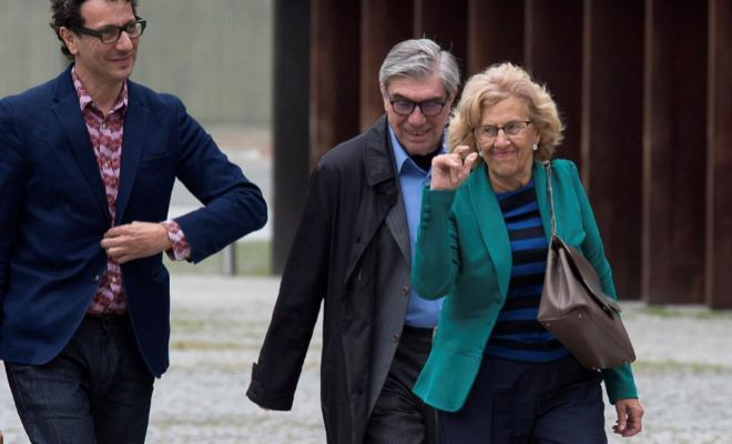 La alcaldesa Manuela Carmena, el pasado jueves en Pamplona.