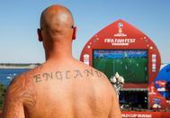 Un aficionado de la selección inglesa, en la ciudad de Volgogrado.