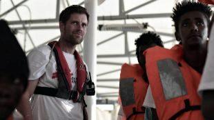David Beverluis, médico de MSF en un momento de la travesía del...
