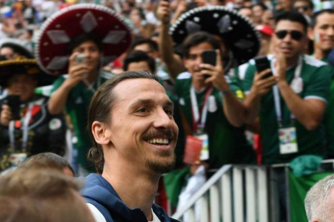 Zlatan Ibrahimovic durante el partido que enfrentó a Alemania y...