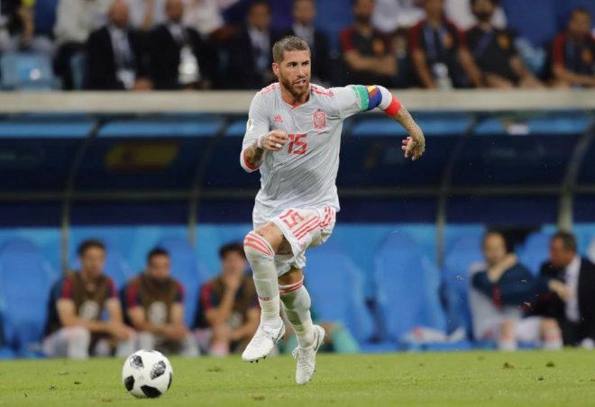 Sergio Ramos durante el partido contra Portugal en el Mundial de Rusia