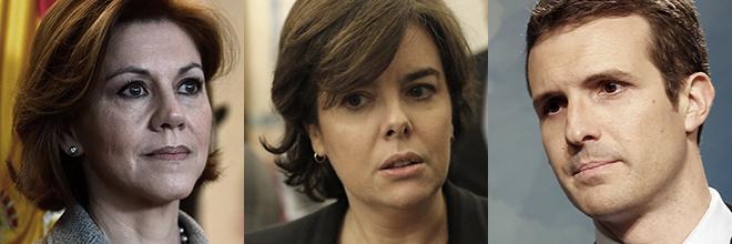 María Dolores de Cospedal, Soraya Sáenz de Santamaría y Pablo...