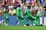 Niang celebra el segundo gol de Senegal a Polonia, en el estadio del Spartak.