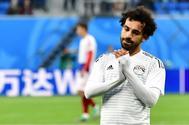 Mohamed Salah se lamenta tras perder ante Rusia.