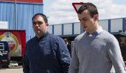 Los condenados Iñaki Abad (izqda.) y Arantz Urrizola, a su llegada a...